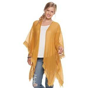 SO Mustard Yellow Gauze Ruana One Size
